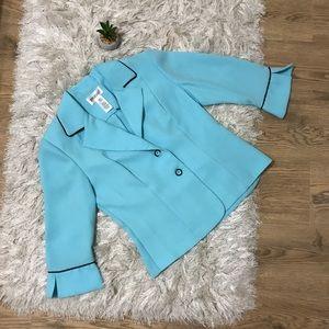 Studio I Size 8 Baby Blue Fitted Blazer